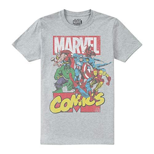 Marvel Call out Camiseta, Gris (Sport Grey SPO), L para Hombre
