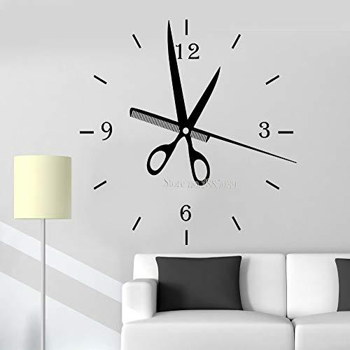 zhuziji Lo Nuevo Creativo Tatuajes de Pared Peluquería Relojes de Moda Reloj de Pared Grande Etiqueta DIY Salón Decoración Barbershop Styl Negro 112x110cm