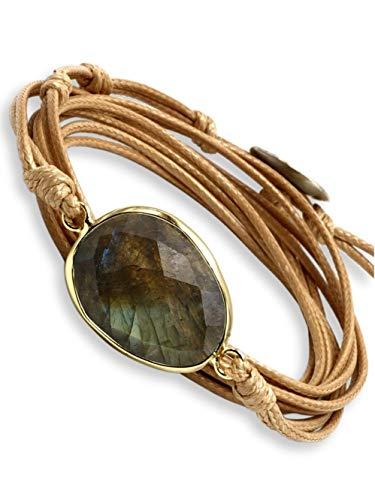 BENAVA Damen Wickelarmband mit Labradorit Stein Anhänger | Yoga Armband Schmuck Edelstein Grün Beige Silber | Meditation Boho Damenarmband
