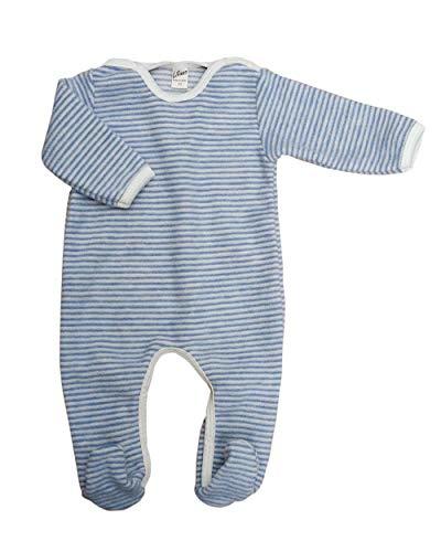 Lilano, Fleece Flausch Overall mit Fuß, 100% Wolle (kbT) (86, Hellblau/Natur)