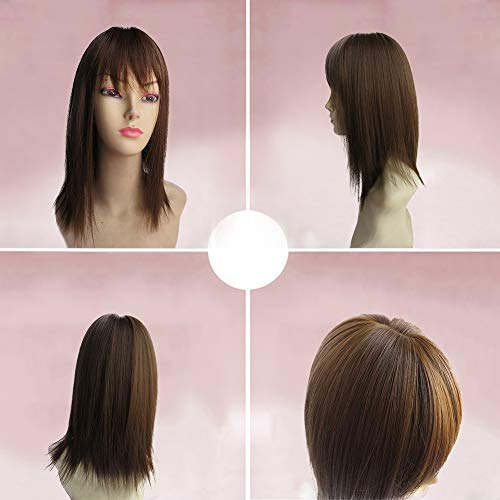 BESTLEE 14 Synthetic Hair Mono Hair Topper for Hair Loss Clip in Hair Top Piece with Air Bangs (Thick Style, Light Brown)