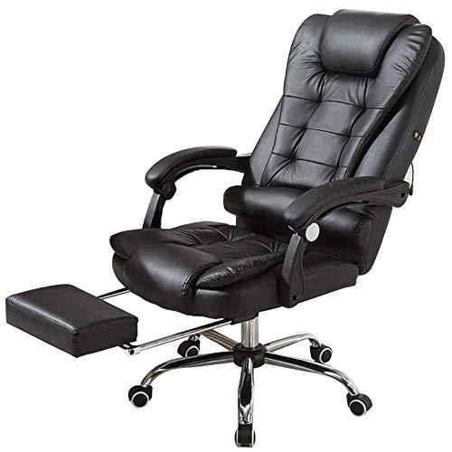 RASHION Silla de oficina ejecutiva de respaldo alto, de piel sintética, asiento grande, silla de escritorio con masaje reclinable con reposapiés giratorio para muebles de oficina en el hogar