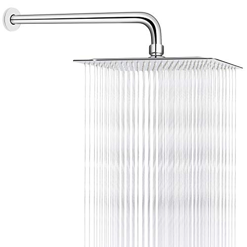 Sooreally 10 Inch Square Rain Shower Head High Pressure Rainfall Showerhead with 15 Inch Extension Arm, Stainless Steel Chrome Finish, 10 Inch Large Waterfall Full Body Coverage