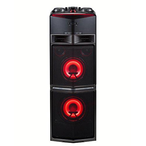LG OJ98 Onebody Party HiFi System, Mikrofoneingang, 2X USB, CD, Radio, 1800W Chrom/schwarz/rot