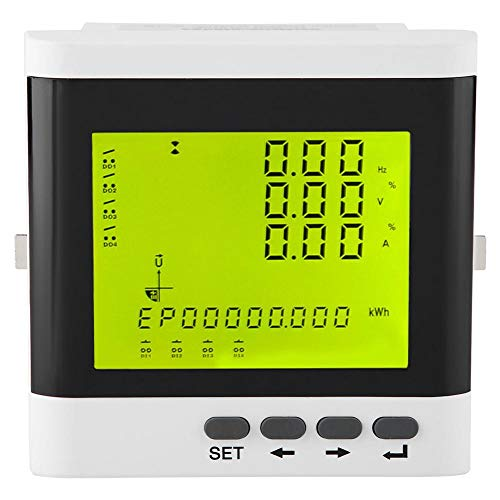 ZM194-D93 Medidor de Potencia LCD Multifuncional, Amperímetro Trifásico Programable Voltímetro a Pantalla LED Digital