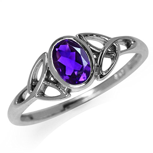 Silvershake Natural African Amethyst White Gold Plated 925 Sterling Silver Triquetra Celtic Knot Ring Size 7