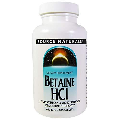Source Naturals | Betain HCL | 650 mg | 180 vegetarische Tabletten | glutenfrei
