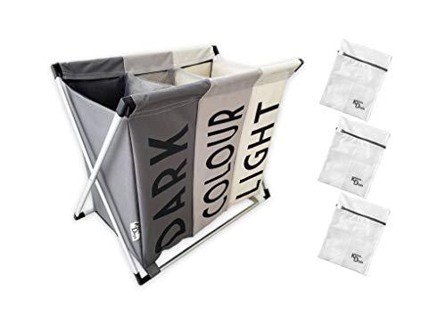 Katrin Doyle Triple Compartment Large Foldable Laundry Sorter Hamper + Mesh Laundry Sacks (set of 3)