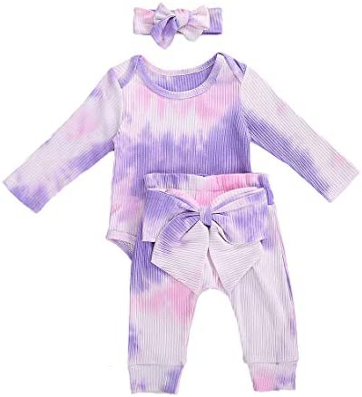 Toddler Baby Girl Tie Dye Outfits Knitted Ruffle Sleeve Romper Tops Elastic Bell Bottom Long product image