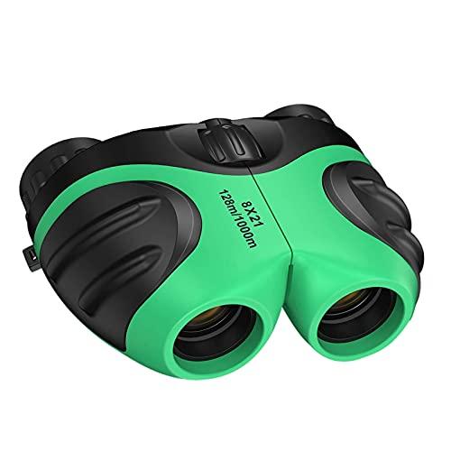balikha Binoculares compactos 8x21, juguetes para niñas de 3 a 12 años, regalos para niños, niñas, binoculares compactos 8x21, regalo de Pascua - Verde