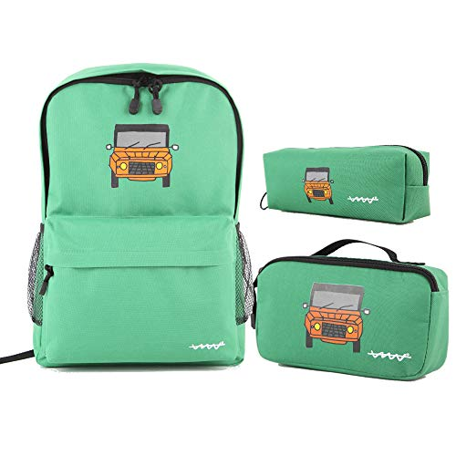 Cállate la boca Set 3pcs verde (mochila + bolsa almuerzo + estuche)