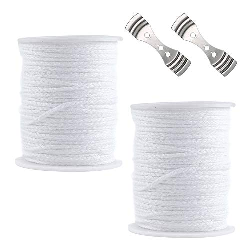 SOSPIRO 2 Rolls Candle Wicks,Smokeless Cotton Candle Wick Core Natural Organic Spool of Cotton Soy Wax Candle Wicks for DIY Oil Lamps Tea Lights Candle,Candles Making Supplies Kit,61m, White