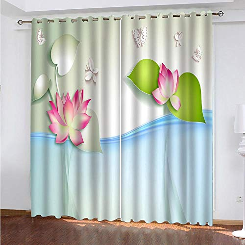 KAOLWY Blackout Curtain with Eyelets, Lotus 150 x 166 cm, Thermal Blackout Blackout Curtains with Eyelets for Living Room Interior Windows 2 Panels