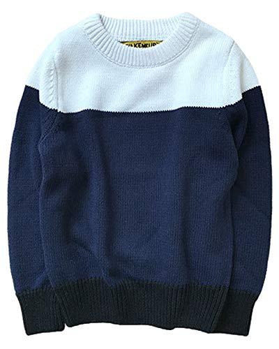 Shengwan Strickpullover Kinder Mädchen Junge Rundhalsausschnitt Farben Stitching Langarm Pulli Sweatshirt Weiß 110