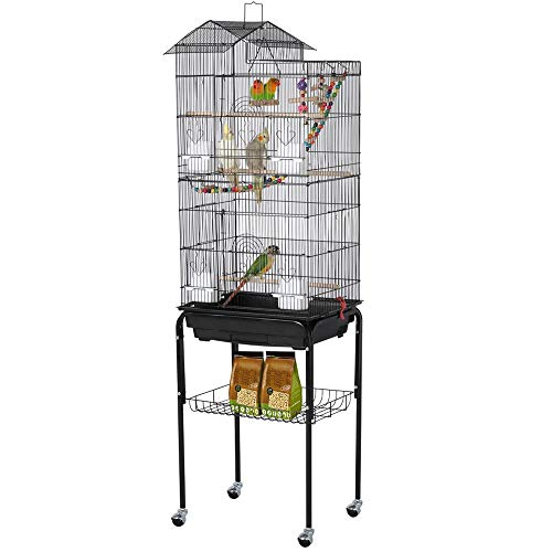 YAHEETECH Roof Top Large Flight Parakeet Parrot Bird Cage with Rolling Stand for Parakeets...