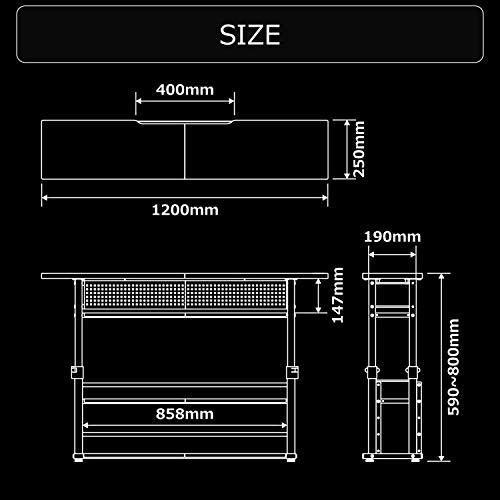 Bauhutte(バウヒュッテ)エクステンションデスク昇降式(幅120×奥行25cm)ブラックBHC-1200H-BK