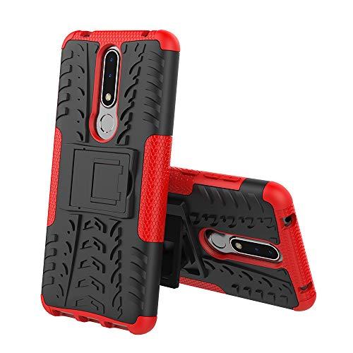 XINKO Nokia 3.1 Plus Cover, Kickstand Incorporato TPU PC 2 in 1 [Dual Layer] Custodia, Assorbimento degli Urti, Armatura Ibrida, Ultra Magro per Nokia 3.1 Plus - Rosso