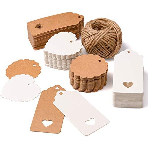 AidShunn 200 PCS - Etiquetas de regalo de papel Kraft para tarjetas de favor de boda, etiqueta de regalo, etiqueta de bricolaje, etiqueta de equipaje, etiqueta de precio, etiqueta colgante de tienda
