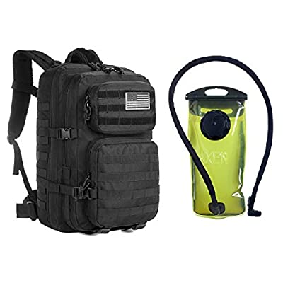 J.CARP Military Tactical Backpack, Large 3 Day Assault Pack, Army Molle Bug Out System, Black Bag with 2L Hydration Water Bladder