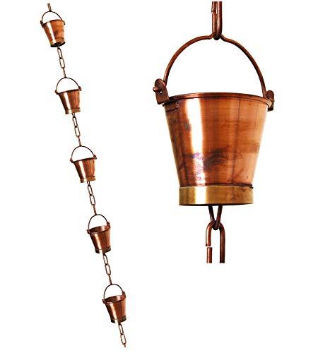 U-nitt 8146 Regenkette aus reinem Kupfer, 2,6 m, für Regenrinne: Eimer Cup 2,6 m Länge