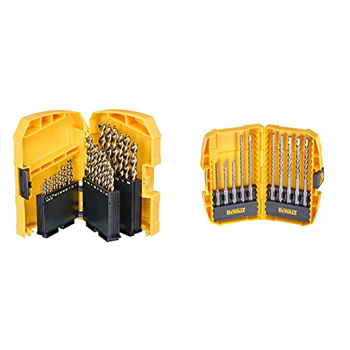 Dewalt DT7926-XJ DT7926-XJ-Tough Case Grande con 29 brocas para Metal Extreme 2, Multi-Colour & DT7935B-QZ Hammer Drill bit-Set SDS-Plus (10 Piece)
