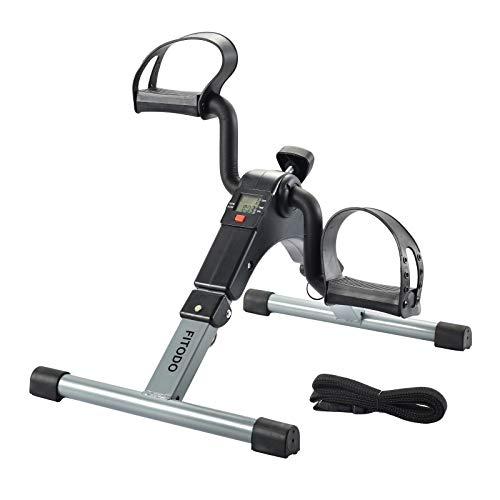 FITODO Pedales Estaticos Ejercicio de Mini Bicicleta con Monitor LCD para Pierna y el Brazo de...