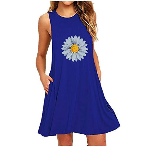 Vestido de Verano para Mujer,Vestidos de camisón Casuales sin Mangas con Estampado de Margaritas de Bolsillo para Mujer de Moda