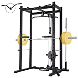 Mikolo Olympic Power Cage, 1000 lbs Commercial Weight Cage with LAT Pull-Down Pulley System, J-Hooks, 360 Degree Landmine, Dip Bars, Barbell Holder, and Other Attachments for Home Gym