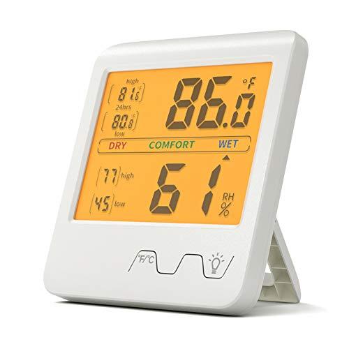 GeekerChip Termometro da Interno,Igrometro Termometro Digitale,Termometro Casa,Monitor di Temperatura e Umidità,Commutabile ℃ / ℉,per Casa,Ufficio,Serra,Stanza del Bambino(Bianco)