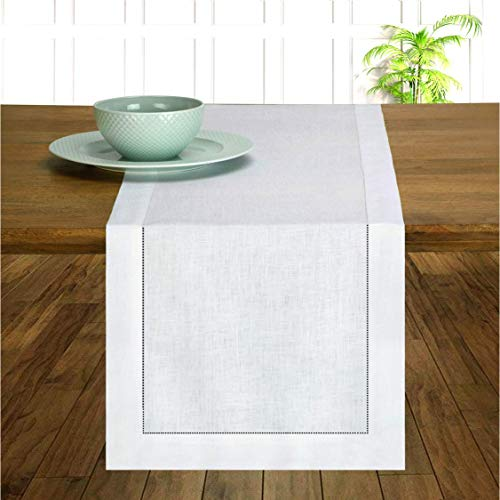 D'Moksha Homes 100% Pure Linen Hemstitch Table Runner - 14 x 54 Inch Snowy White, Natural Fabric European Flax, Machine Washable, Handcrafted Dresser Scarf with Mitered Corners, Great Gift Choice