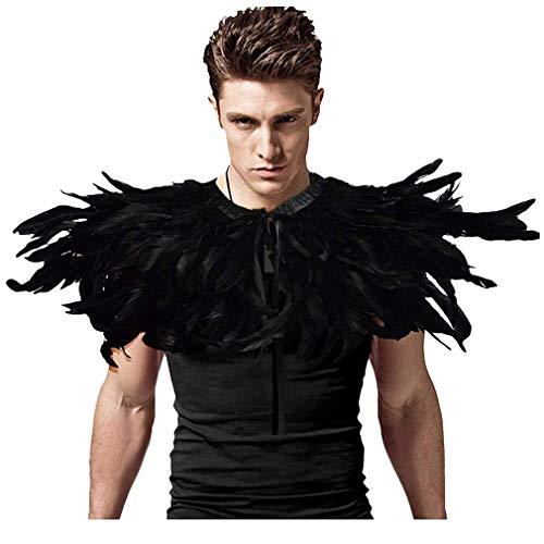 L'VOW Gothic Schwarz Federn Umhang Umschlagtücher für Männer Raben Kostüm Poncho Mit Halsband (Stil D)