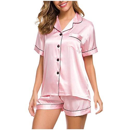 Conjunto de Pijama de Seda sintética para Mujer, Ropa de Dormir de Ocio de Color Puro Simple, Camisa de Manga Corta y Pantalones Cortos, Traje de Dormir