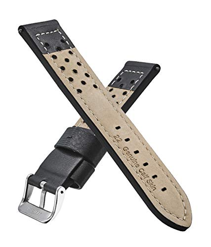 ALPINE Genuine leather thick stitched sporty watch band (fits wrist sizes 6 – 7 1/2 inch)- black, brown – 22mm, 24mm, 26mm