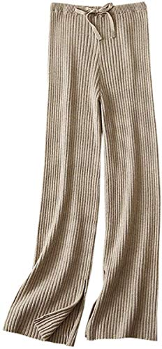 SANGTREE Women's Drawstring Solid Plain Knitted Wide Leg Cashmere Lounge Pants, Camel, XS