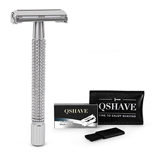 QSHAVE Double Edge 4 inch Long Handle Safety Razor Twist Butterfly Open Chrome Matte Finish (1 Razor + 5 pcs Titanium Coated Blades)