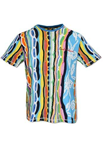 Carlo Colucci Farbgewaltiges Allover Print T-Shirt, Weiß-Petrol-Orange Weiß XS