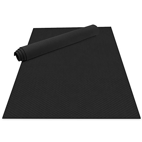 Odoland Large Yoga Mat 72'' x 48'' (6'x4') x6mm for Pilates Stretching Home Gym Workout, Extra Thick Non Slip Eco Friendly Exercise Mat with Carry Strap, Black