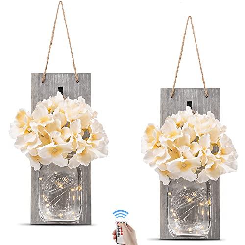 Mason Jars Sconce, Rustic Home Decor,Wrought Iron Hooks, Silk Hydrangea and LED Strip Lights Design