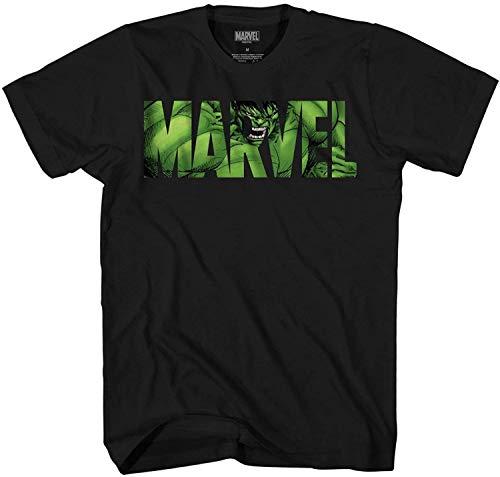 Marvel Logo Hulk Avengers Super Hero Adult Men's Graphic Tee T-Shirt Apparel (Black, Large)