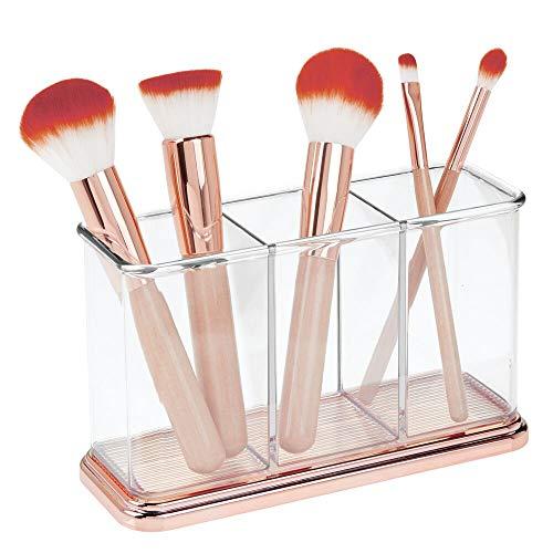 mDesign praktischer Kosmetik Organizer – dekorative Kosmetik Aufbewahrungsbox für Nagellack und Puder – Ablage mit 3 Fächern zur Schminkaufbewahrung – durchsichtig und rotgold