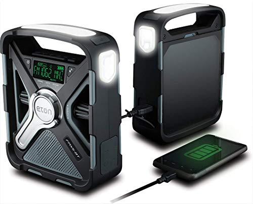 eton weather radios Eton Emergency Weather Bluetooth Radio, Smartphone Charger, Alarm Clock & LED Flashlight, Dual Powered, Black, FRX5BT