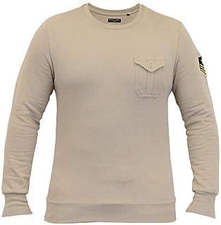 BRAVE SOUL Mens Sweatshirt Military Badge Pullover Top Fleece Lined Winter New