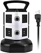 Power Strip Tower JACKYLED Surge Protector Electric Charging Station 3000W 13A 6 AC Outlets 4 USB Ports with 16AWG 6.5ft Heavy Duty Extension Cord for Home Office