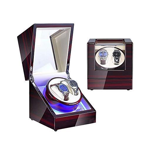 Enrollador de reloj automático, reloj de 1 pieza, enrollador de reloj doble para relojes automáticos, con luz LED azul, exterior de pintura de piano de carcasa de madera, motor japonés súper silencio