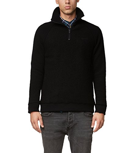 Bench Herren Troyer Material Mix Pullover, Schwarz (Black Beauty Bk11179), Large