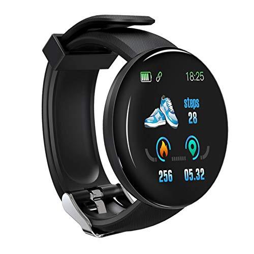 YDL Reloj Inteligente Hombres Presión Arterial Smartwatch Mujeres Impermeable Deporte Ritmo Cardíaco Fitness Rastreador De Relojes para Android iOS Reloj Inteligente (Color : Black)
