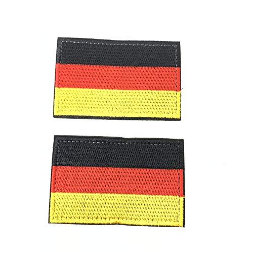 2 Parches Velcro x Bandera de Alemania Alemán Emblema nacional Bandera Táctico bandera con velcro podría ser pegado a la ropa, chaleco, gorra, mochila Directamente