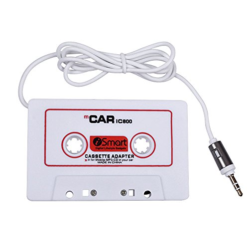 AutoEC Adaptador Cassette de Cinta de Audio para Automóviles, Reproductor de iPhone, iPad, MP3, iPod, Radio Nano de CD, Cable de 3.5 mm de Largo, Adaptador de Cassette de Viaje para Coches (Blanco)