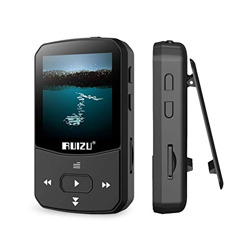Clip MP3 Player mit Bluetooth 4.1 16 GB Verlustfreier Sound Musik-Player mit FM-Radio Voice Recorder Video Kopfhörer zum Laufen, Unterstützung von bis zu 128 GB