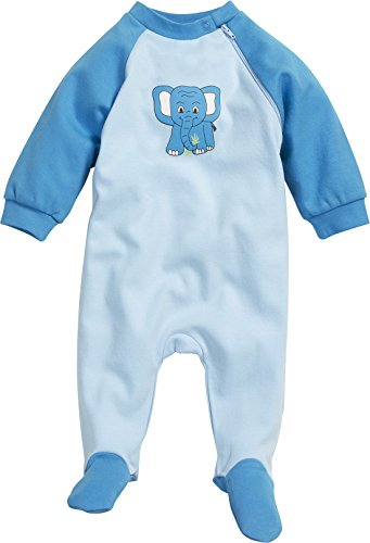 Playshoes Baby-Unisex Schlafanzug Schlafoverall Elefant Schlafstrampler, Blau (original 900), (Herstellergröße: 68)